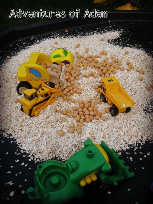 Adventures of Adam toddler play Oats and chick pea building site