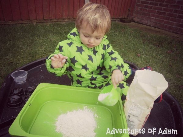 Cloud dough toddler play