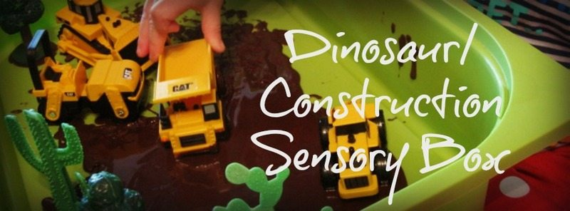 Dinosaur/ Construction Sensory Box – Day 25 Toddler Play Challenge