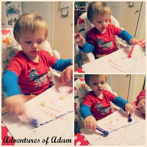 Adventures of Adam toddler play rollerball mark making