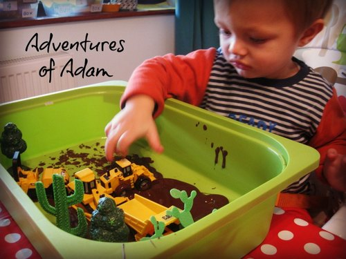 Adventures of Adam Construction sensory bin
