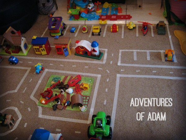 Adventures of Adam toddler play masking tape train track