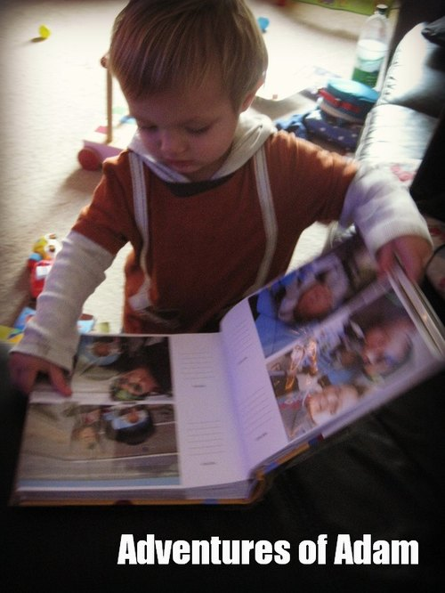 Adventures of Adam toddler play Adam's own photo books