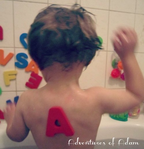 Adventures of Adam toddler play letter bath time fun