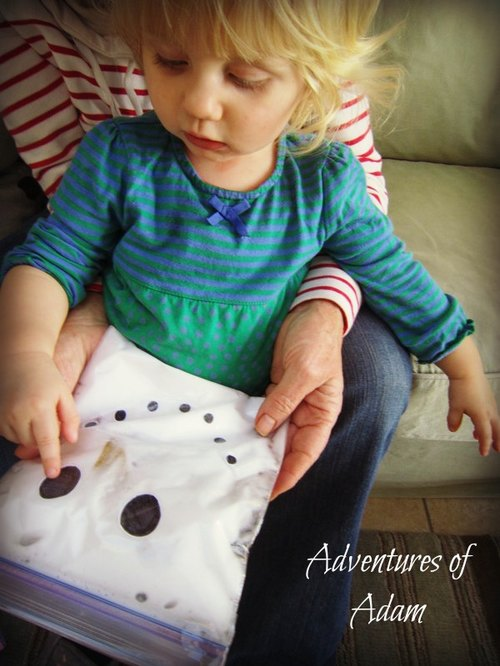 Adventures of Adam toddler play snowman zip-loc bag