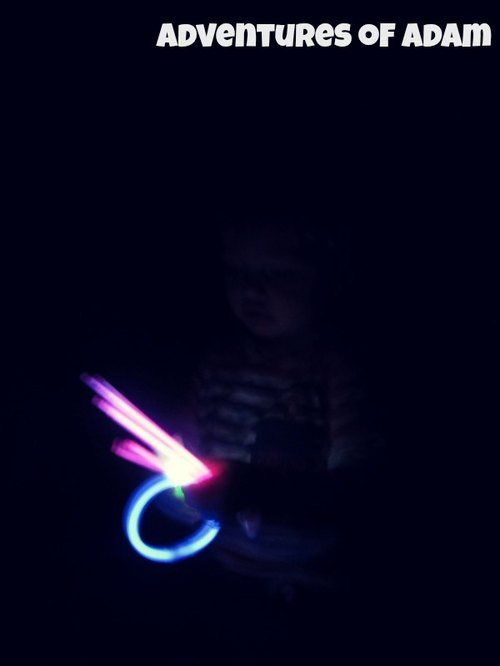 Adventures of Adam toddler play Glow Sticks