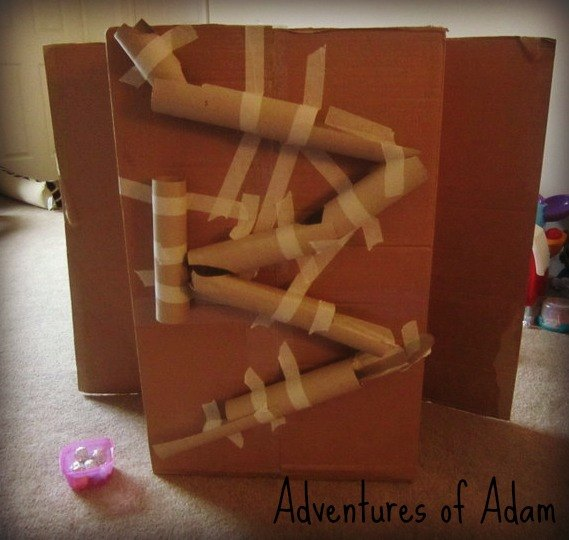 Toilet roll marble run day 59 toddler play challenge for Toilet paper roll challenge