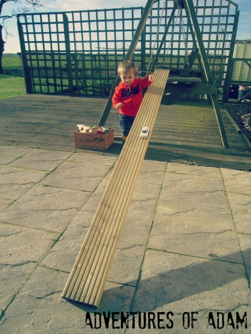 Adventures of Adam toddler play Decking car ramp