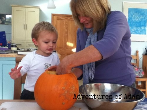 Adventures of Adam pumpkin sensory play