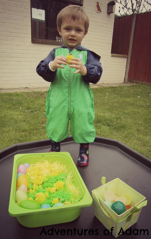Adventures of Adam Easter sensory bin