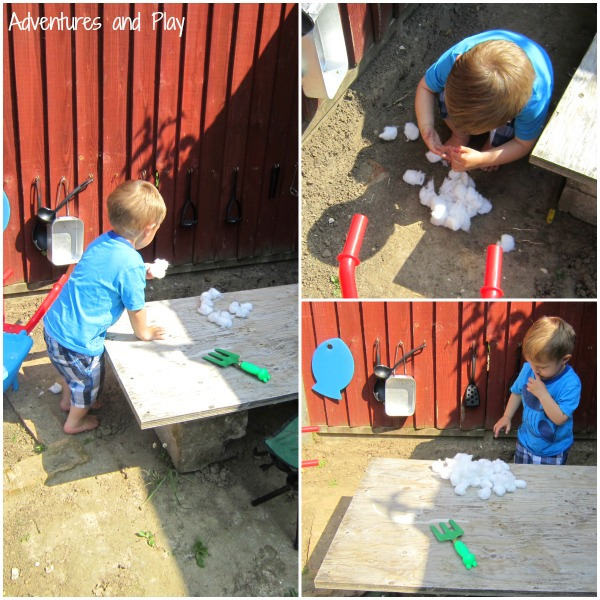 Cotton wool play in the mud kitchen