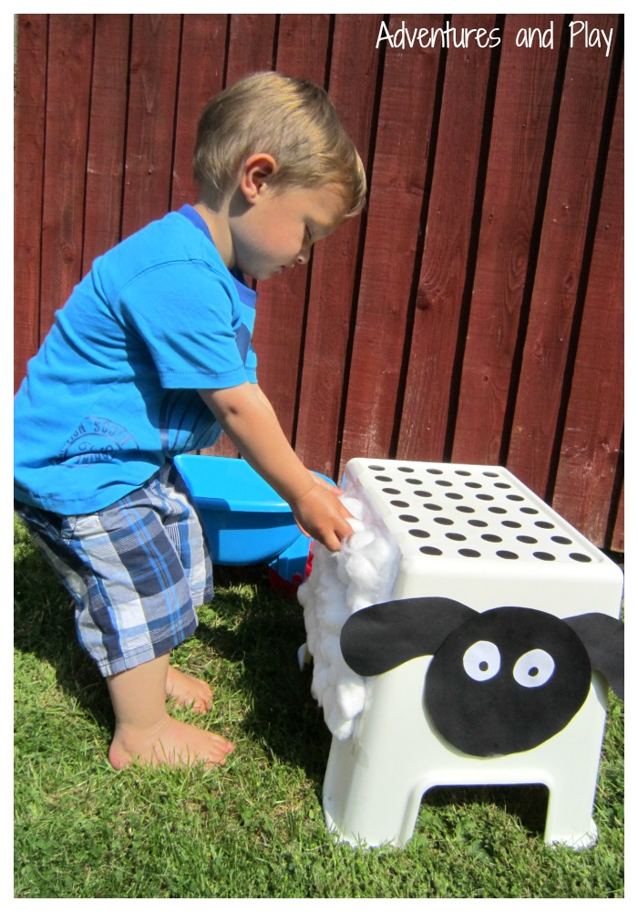 Toddler fine motor sheep shearing
