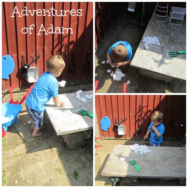 Adventures of Adam playing in the mud kitchen