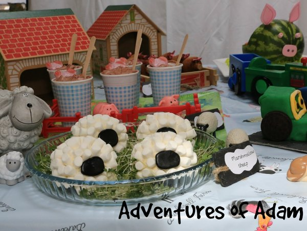 Adventures of Adam marshmallow sheep party food