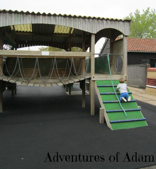 Adventures of Adam outside climbing frame PlayBarn