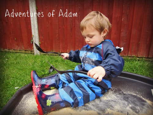 Adventures of Adam wheat flake messy play