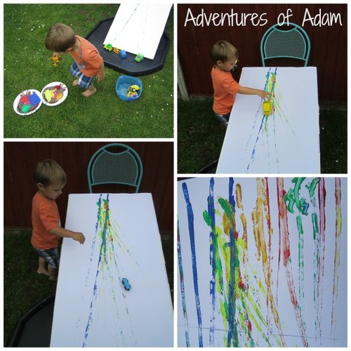 Adventures of Adam toddler car ramp painting