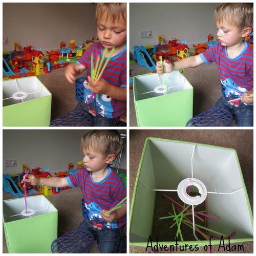 Adventures of Adam independent toddler play with straws