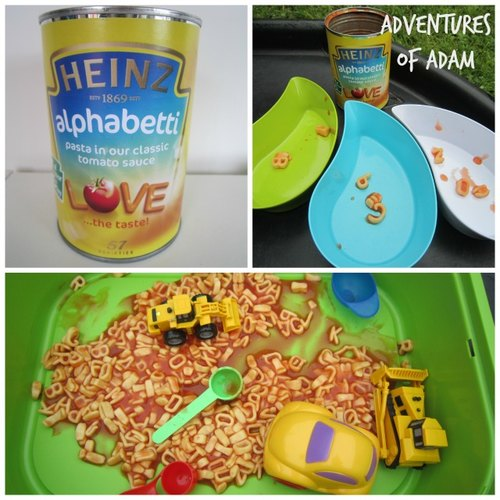 Adventures of Adam Heinz Alphabetti pasta messy play