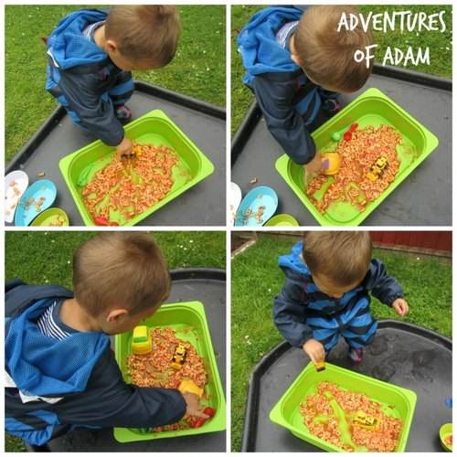 Adventures of Adam Heinz Alphabetti pasta toddler play