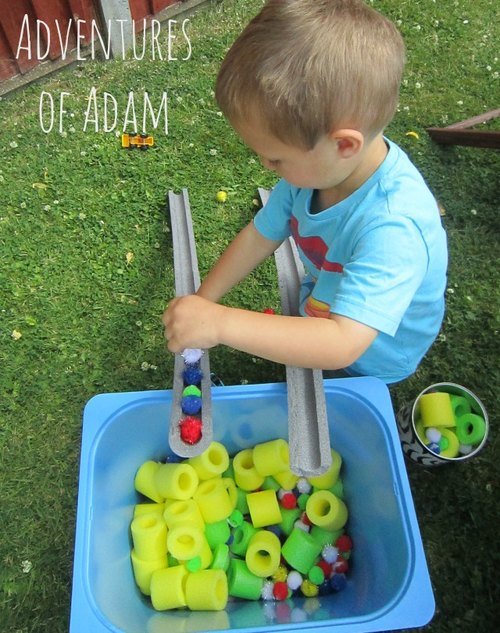 Adventures of Adam independent toddler play pom pom drop