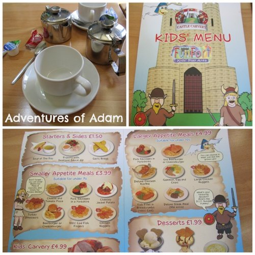 Adventures of Adam childrens menu Castle Carvery Norwich