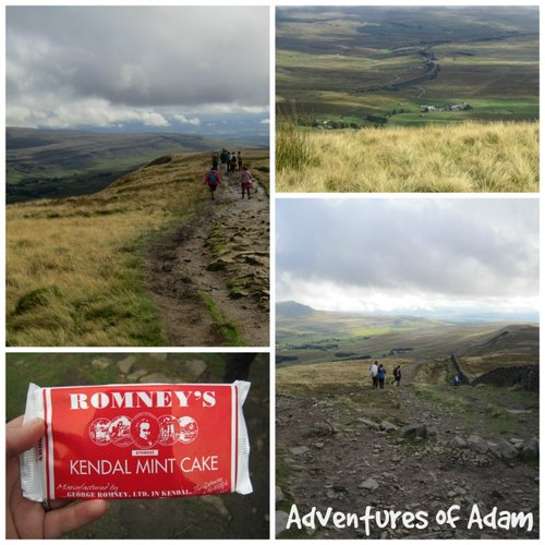 Adventures of Adam walking down from Whernside