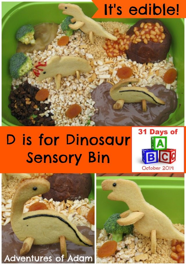 Adventures of Adam D is for Dinosaur Sensory Bin