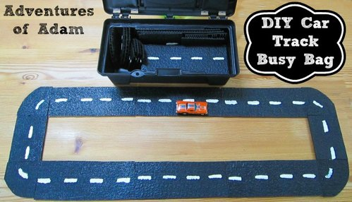 Adventures of Adam DIY car track busy bag