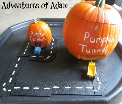Adventures of Adam pumpkin car wash and tunnel