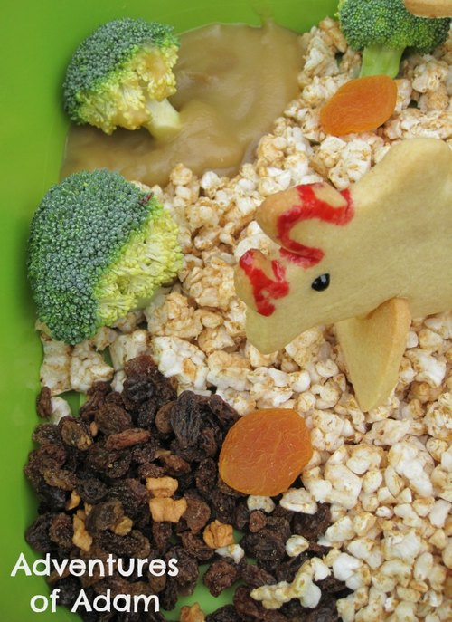 Adventures of Adam edible sensory bin