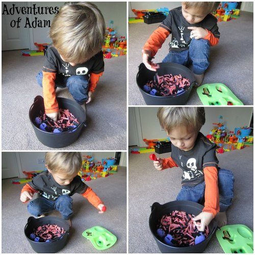 Adventures of Adam straw Halloween Sensory Bin