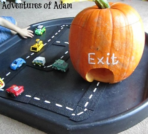 Adventures of Adam car tunnel made from a pumpkin