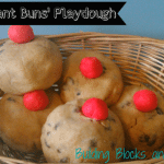 5 Currant Buns Play Dough from Building Blocks and Acorns