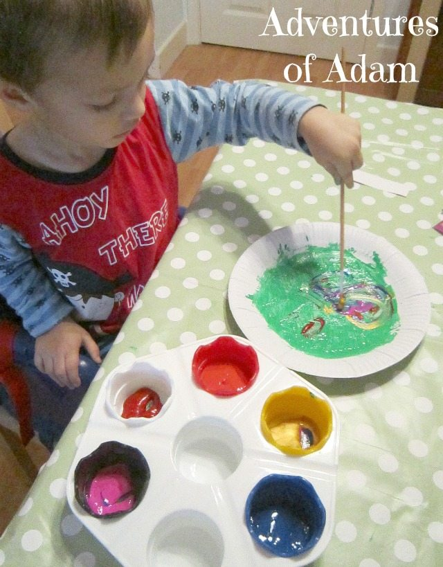 Adventures of Adam toddler Christmas painting