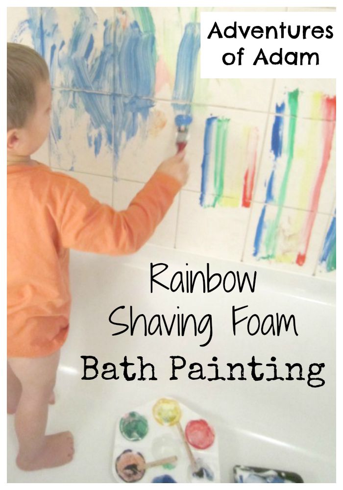 Adventures of Adam Rainbow shaving foam bath painting