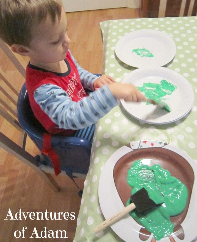 Adventures of Adam toddler painting Christmas tree