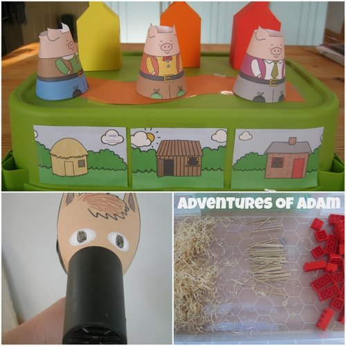 Adventures of Adam Three Little Pigs set up