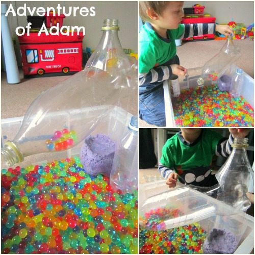 Adventures of Adam How to play with water beads and plastic bottles