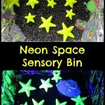 Neon Space Sensory Bin Adventures of Adam