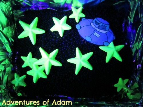 Adventures of Adam Neon Space Sensory Bin