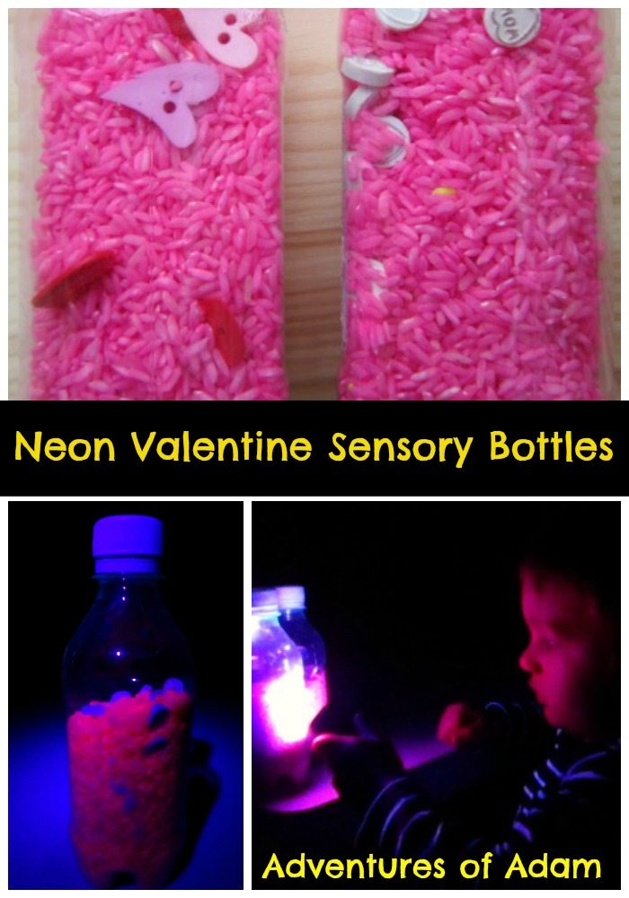 Adventures of Adam Neon valentine sensory bottles