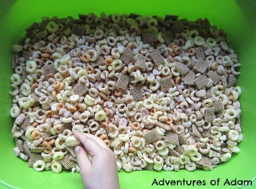 Adventures of Adam Number cereal sensory bin