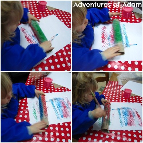 Adventures of Adam Painting with bubble wrap