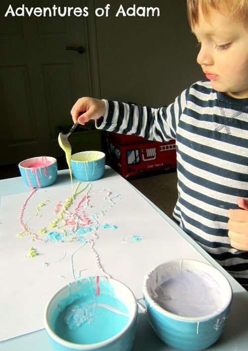 Adventures of Adam Painting with cornflour
