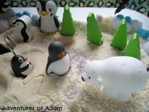 Adventures of Adam polar bear sensory bin