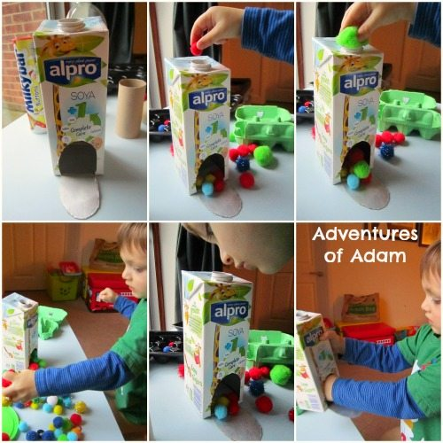 Adventures of Adam Pom poms and milk carton