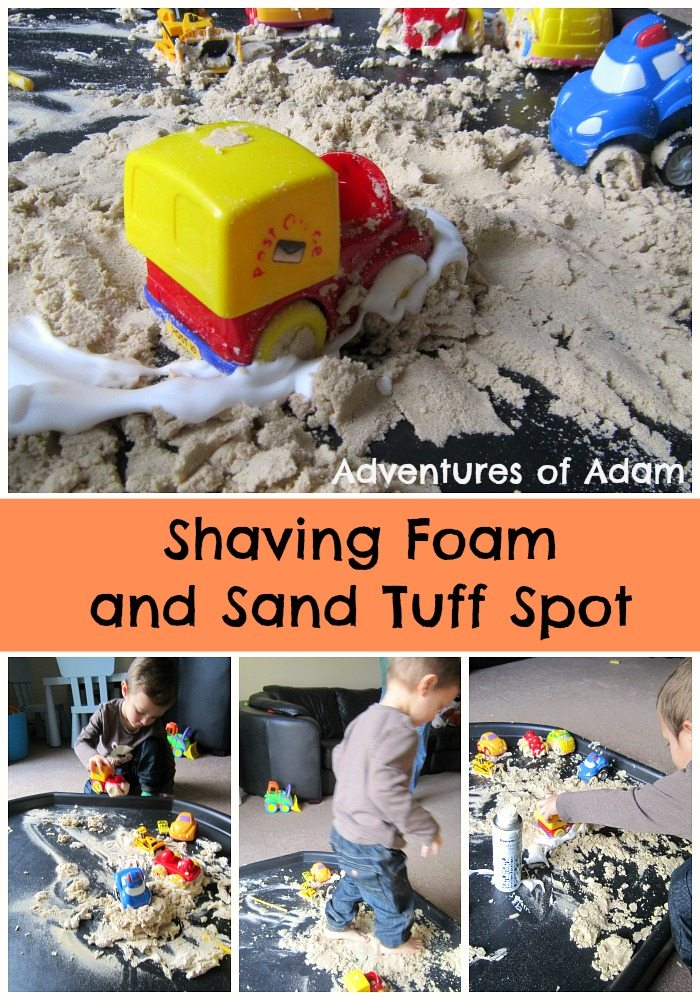 Shaving Foam and sand tuff spot Adventures of Adam