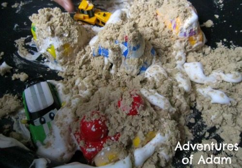 Adventures of Adam Shaving foam and sand covered cars