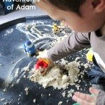 Adventures of Adam Shaving foam and sand tuff spot